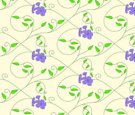 Half drop repeat - vll flowered vine - periwinkle fabric by victorialasher on Spoonflower - custom fabric