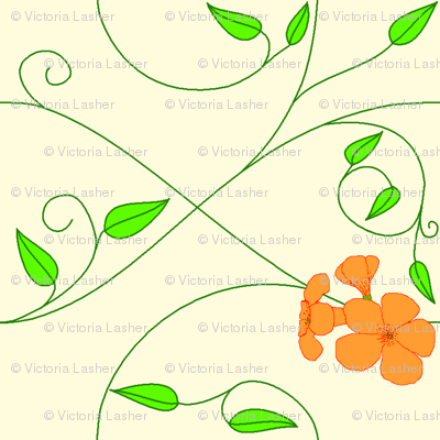 Half brick repeat - vll flowered vine - orange
