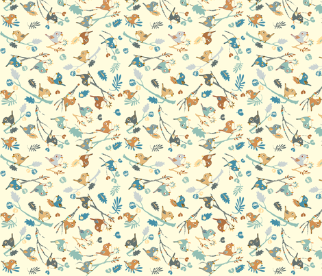 My little friends - blue fabric by peikonpoika on Spoonflower - custom fabric