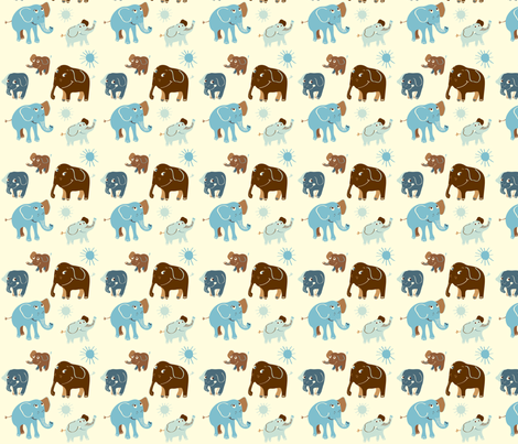 Elephant blå fabric by peikonpoika{by}brunou on Spoonflower - custom fabric