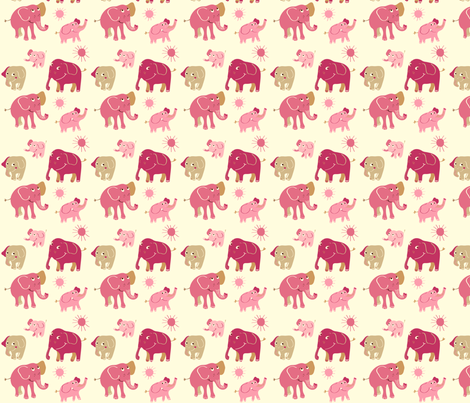 Elephant rosa fabric by peikonpoika{by}brunou on Spoonflower - custom fabric