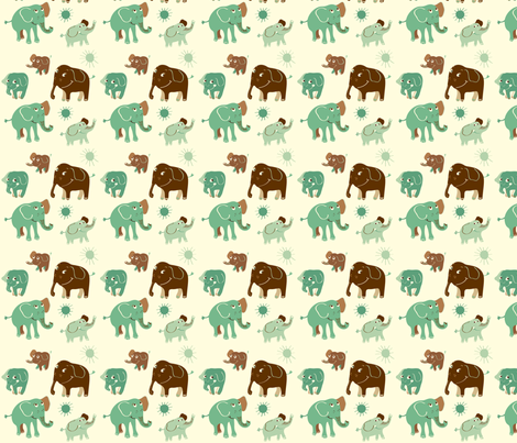 Elephant turkos fabric by peikonpoika on Spoonflower - custom fabric