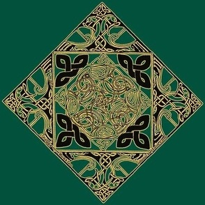 Celtic Knotwork Birds, Dark Green and Gold
