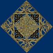 Celtic Knotwork Birds, Royal Blue and Gold