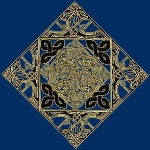 Celtic Knotwork Birds, Royal Blue and Gold