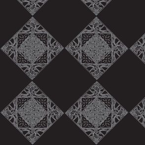 Celtic Knotwork Birds, Black and Silver