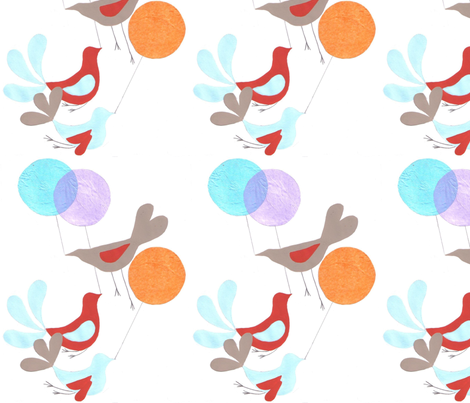 Birds_And_Balloons fabric by anenome on Spoonflower - custom fabric
