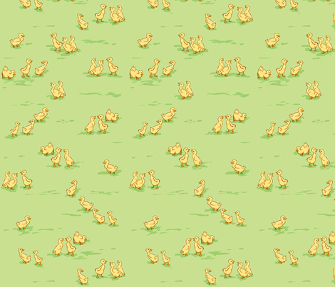 Little Baby Ducks on Green fabric by yvonne_herbst on Spoonflower - custom fabric
