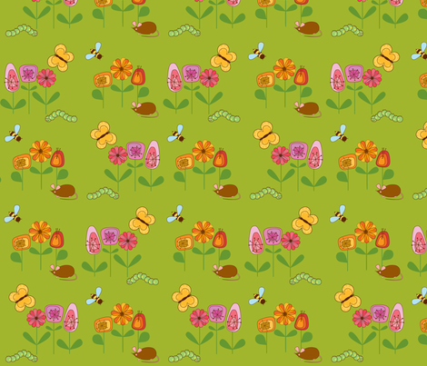 KleineMaus_Green fabric by yvonne_herbst on Spoonflower - custom fabric
