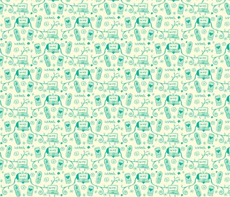 Techie Toile in Teal fabric by ifneedb on Spoonflower - custom fabric