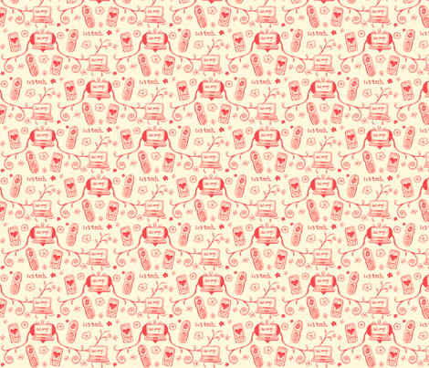 Techie Toile in Coral fabric by ifneedb on Spoonflower - custom fabric