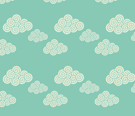 swirly blue clouds  fabric by suziedesign on Spoonflower - custom fabric