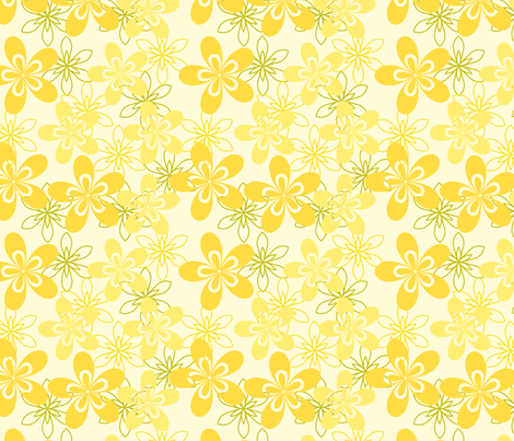green and yellow flowers fabric by suziedesign on Spoonflower - custom fabric