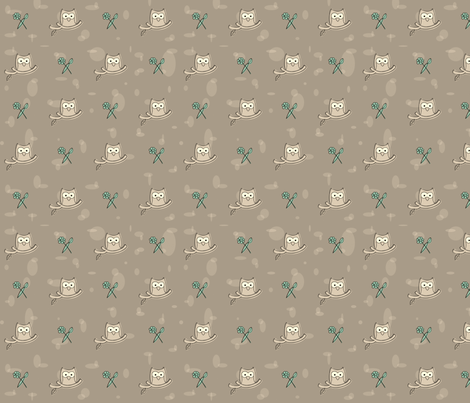 Owls owls owls on gray fabric by cross_the_lime on Spoonflower - custom fabric