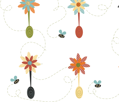 Flower_Spoons_and_Bumble_Bees fabric by homeberries on Spoonflower - custom fabric