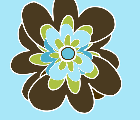 Brown and blue flowers fabric by emilyb123 on Spoonflower - custom fabric