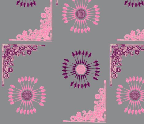 vintage_spoonsnflowers_grey fabric by snork on Spoonflower - custom fabric
