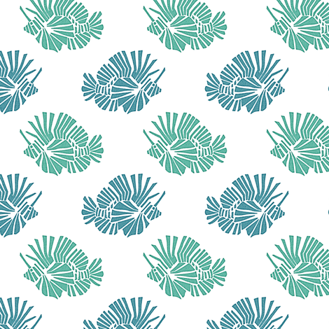 Lionfish Party - Aqua fabric by kristopherk on Spoonflower - custom fabric