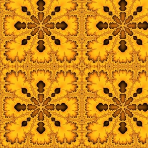 fractal kaleidoscope in gold