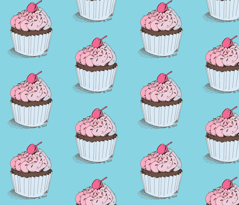 Sweet Retro Cupcake Blue fabric by cary_dingel on Spoonflower - custom fabric