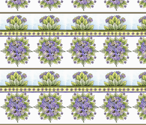 hydrangeaborders fabric by leslipepper on Spoonflower - custom fabric