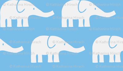 LARGE Elephants in blue