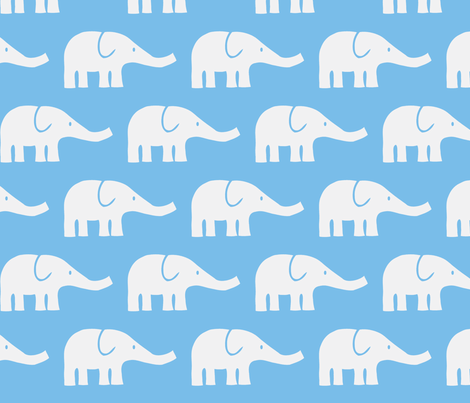 LARGE Elephants in blue fabric by katharinahirsch on Spoonflower - custom fabric