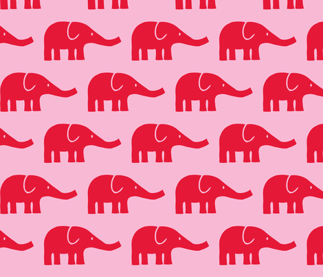 LARGE Elephants in pink and red fabric by katharinahirsch on Spoonflower - custom fabric
