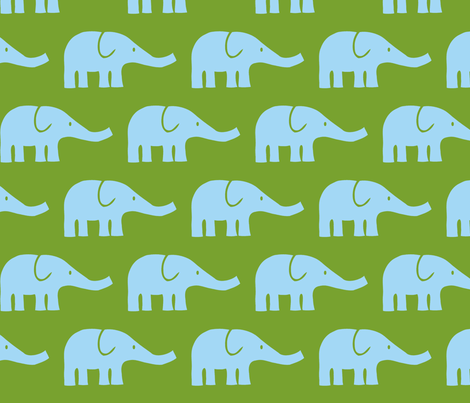 LARGE Elephants in green and blue fabric by katharinahirsch on Spoonflower - custom fabric