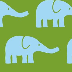 LARGE Elephants in green and blue