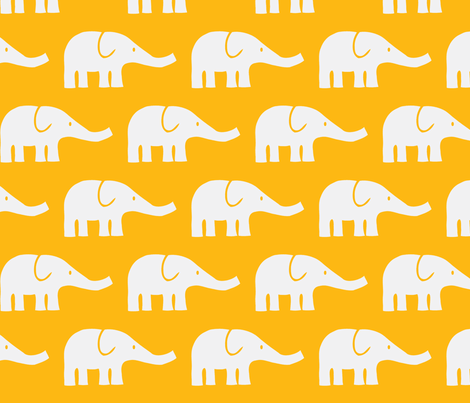 LARGE Elephants in orange fabric by katharinahirsch on Spoonflower - custom fabric
