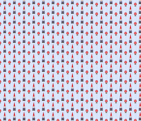 Gnomes on Blue Pinstripe fabric by pixeldust on Spoonflower - custom fabric