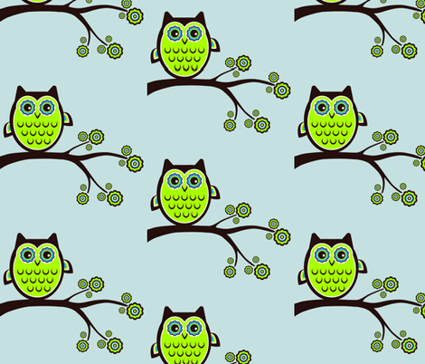 retro owl blue fabric by drbadjen on Spoonflower - custom fabric
