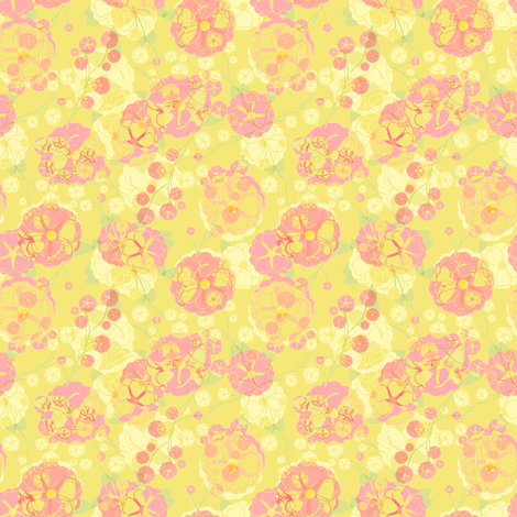 Rose Party (#013-20) sherbet - © Inscribed Here 2009 fabric by inscribed_here on Spoonflower - custom fabric