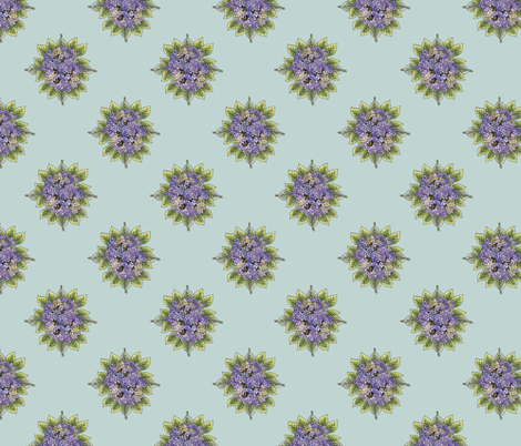 hydrangeabouquet-aqua fabric by leslipepper on Spoonflower - custom fabric