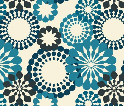 blue retro flowers fabric by suziedesign on Spoonflower - custom fabric