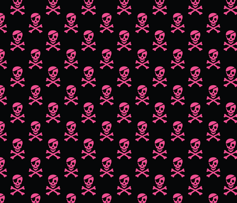 Pirate Skulls - Magenta fabric by pixeldust on Spoonflower - custom fabric