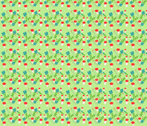 Green Mushrooms fabric by disgusted_cats on Spoonflower - custom fabric