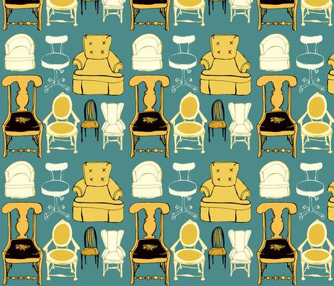A lovely set of chairs fabric by 1canoe2 on Spoonflower - custom fabric