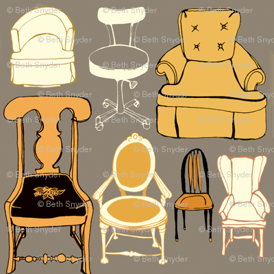 Gray and Gold Chairs