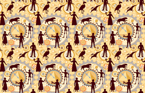 Time Machine:  A Steampunk Adventure--Small version  ©2010 by Jane Walker fabric by artbyjanewalker on Spoonflower - custom fabric