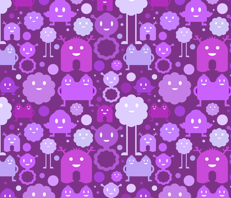 Monsters On the Loose - Purple fabric by jesseesuem on Spoonflower - custom fabric