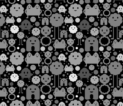 Monsters On the Loose - Black fabric by jesseesuem on Spoonflower - custom fabric