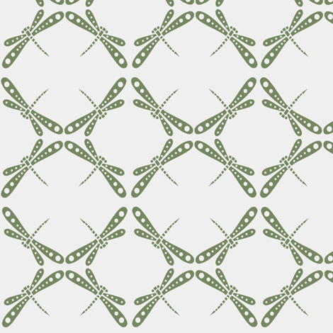 Dragonfly Dance - Olive Green fabric by kristopherk on Spoonflower - custom fabric