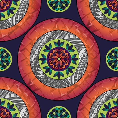 Gothic Pasifika: Mandala - Orange fabric by jessicasoon on Spoonflower - custom fabric