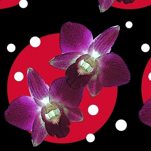 orchid with red circle