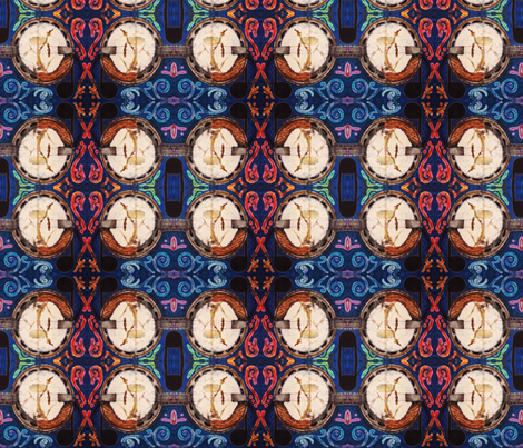 BLUEGRASS BANJO by SUE DUDA fabric by suedudadesigns on Spoonflower - custom fabric