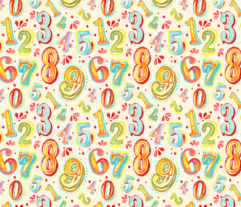 Candy Coated Numbers fabric by katie_daisy on Spoonflower - custom fabric