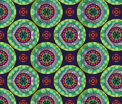 Gothic Pasfika: Mandala Green fabric by jessicasoon on Spoonflower - custom fabric