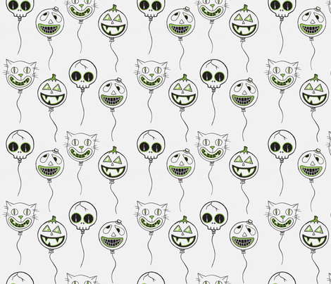 spooky balloons green fabric by puncezilla on Spoonflower - custom fabric
